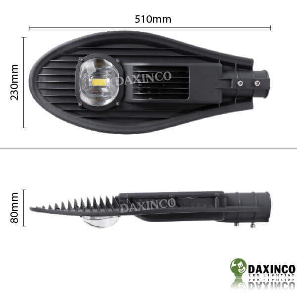 Kích thước Đèn đường led 50w Daxinco kiểu chiếc lá Daxin50-8