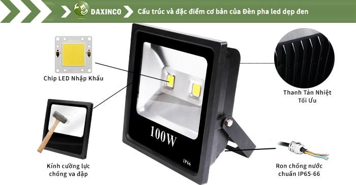 Đèn pha led 100w Daxinco kiểu dẹp