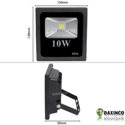 Kích thước đèn pha led 10w Daxinco kiểu dẹp