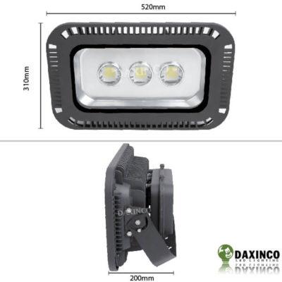 Kích thước Đèn pha led 150W Daxinco lúp Daxin150-5