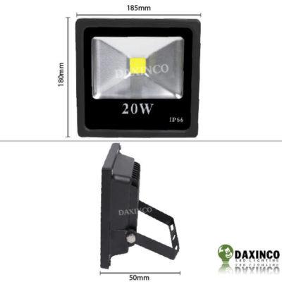 Kích thước đèn pha led 20w Daxinco kiểu dẹp