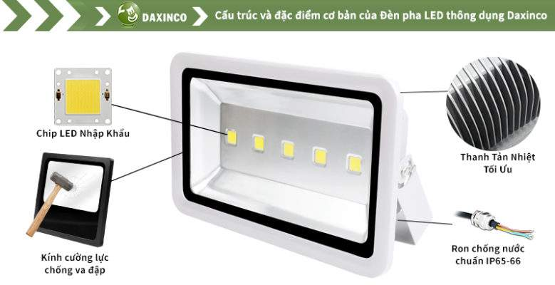 Đèn Pha led 250W Daxinco kiểu thông dụng Daxin250-1