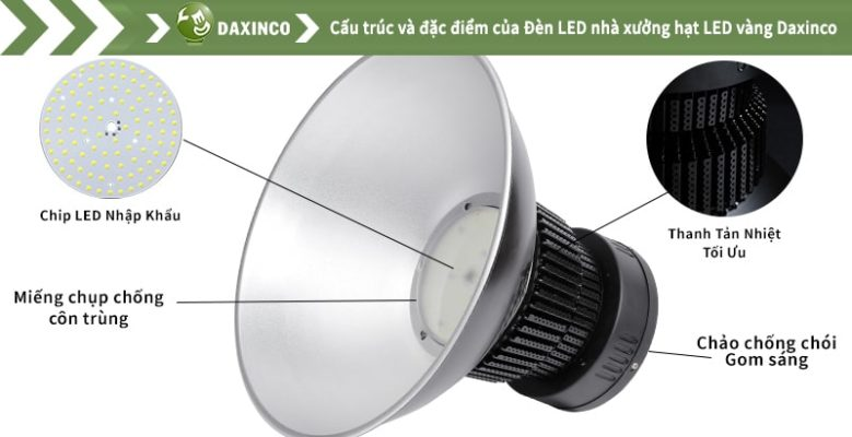 Đèn led nhà xưởng 100w Daxinco kiểu Hạt LED Vàng Daxin100-19