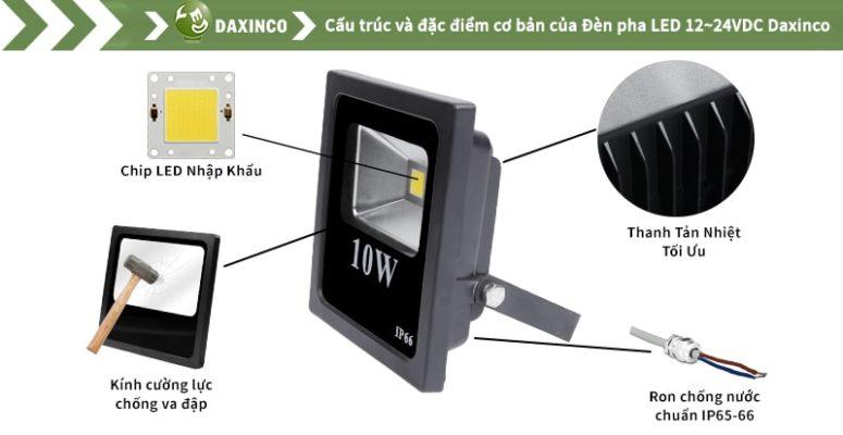 đèn pha LED 10W 12-24vdc Daxinco