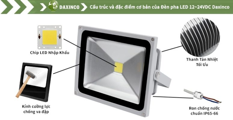 đèn pha LED 30W 12-24vdc Daxinco