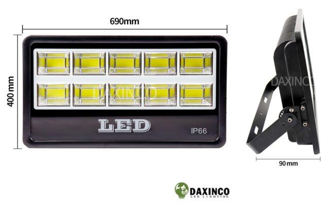 Kích thước Đèn pha led 500w Daxinco kiểu chiến sỹ Daxin500-18