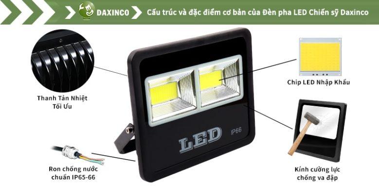 Đèn pha led 100w Daxinco kiểu chiến sỹ Daxin100-18