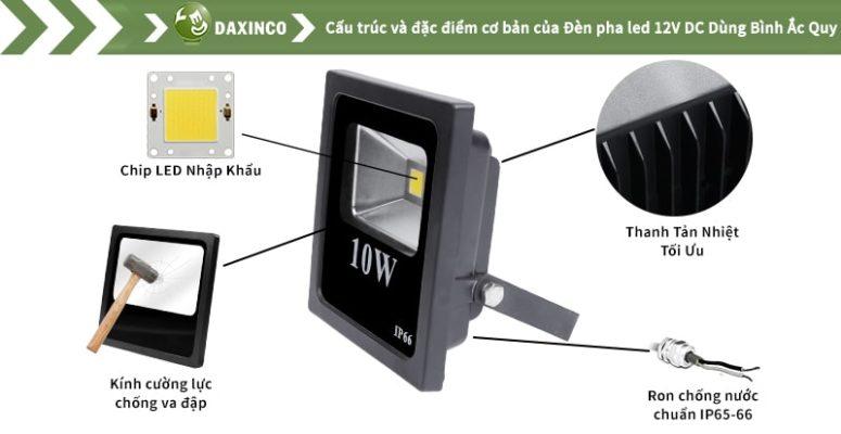 Đèn pha led 10w Daxinco 12v DC bình ắc quy