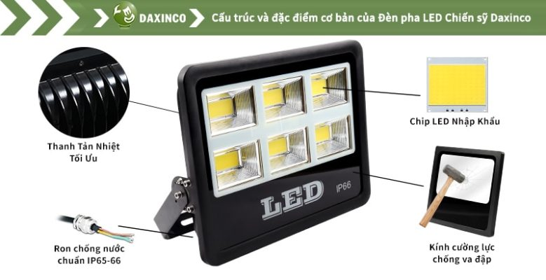 Đèn pha led 300w Daxinco kiểu chiến sỹ Daxin300-18