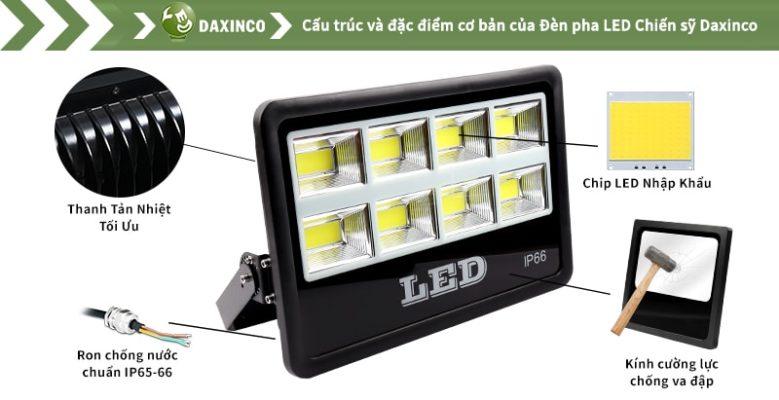 Đèn pha led 400w Daxinco kiểu chiến sỹ Daxin400-18