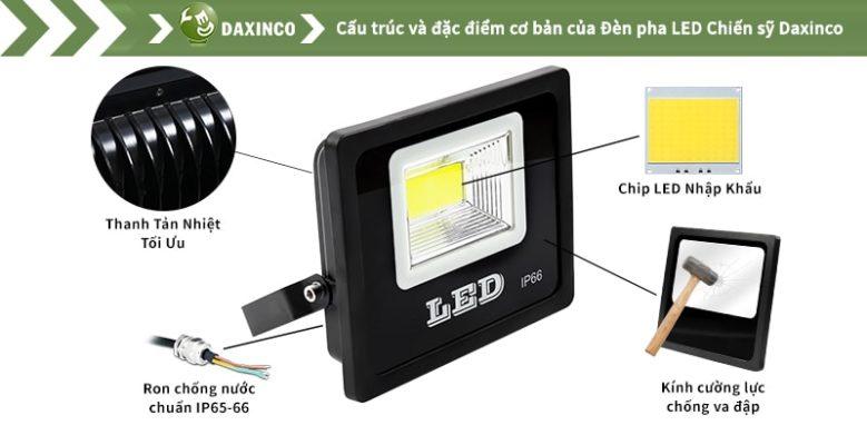Đèn pha led 50w Daxinco kiểu chiến sỹ Daxin50-18