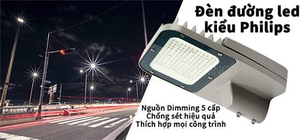 Đèn đường led Dimming 5 cấp công suất, 3 cấp công suất, chống xung sét