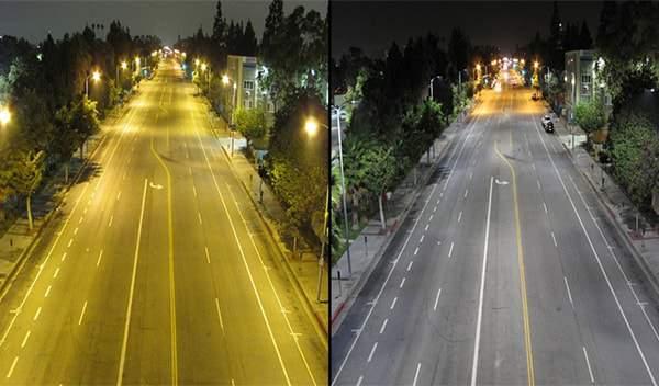 So sánh hình ảnh khi dùng đèn thông thường và đèn led để chiếu sáng đường phố