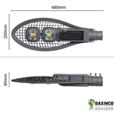 Kích thước Đèn đường led 100w Daxinco kiểu vợt Daxin100-17