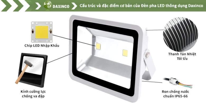 Đèn Pha led 120W Daxinco 2 leds thông dụng Daxin120-1-2Y