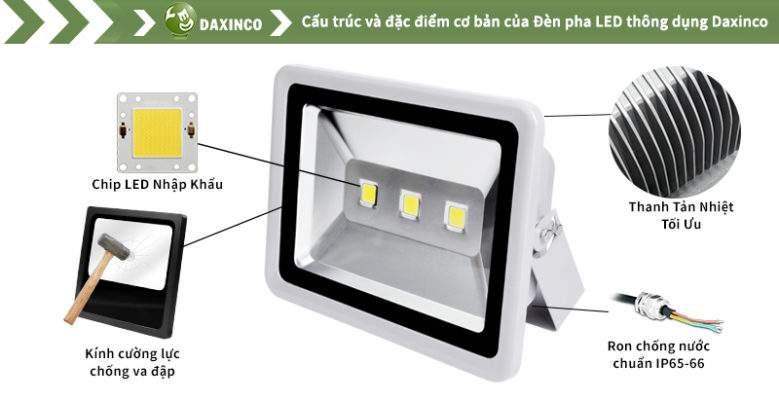 Đèn Pha led 120W Daxinco 3 leds thông dụng Daxin120-1-3Y