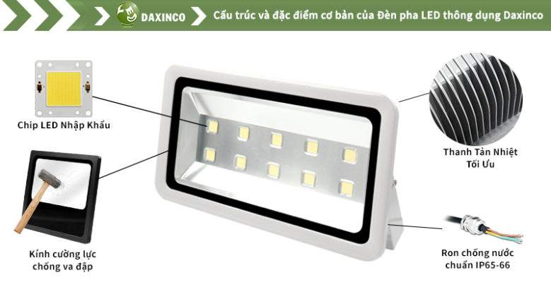 Đèn Pha led 300W Daxinco kiểu thông dụng Daxin300-1