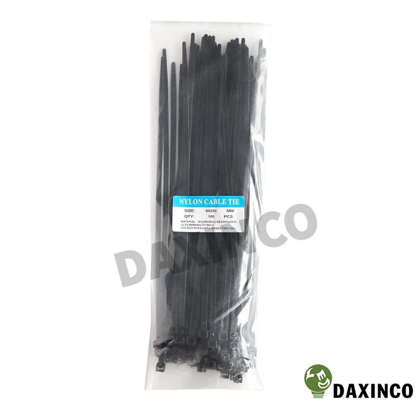 Dây rút nhựa 8x250 đen Daxinco - dây lạc nhựa 1