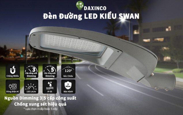 ĐÈN ĐƯỜNG LED 100W DAXINCO KIỂU SWAN DIMMING 3,5 CẤP CÔNG SUẤT