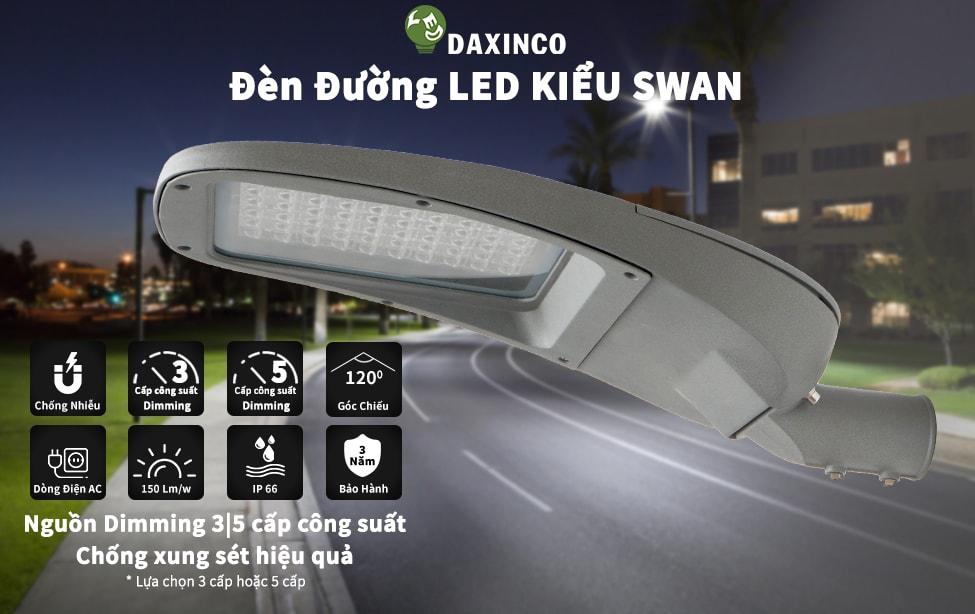 Đèn đường led 100W Swan Dimming 3,5 cấp công suất