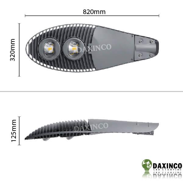Kích thước đèn đường led 100W kiểu mặt trăng Daxinco Daxin100-10