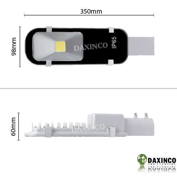 Kích thước đèn đường led 20W Daxinco kiểu răng Daxin20-13