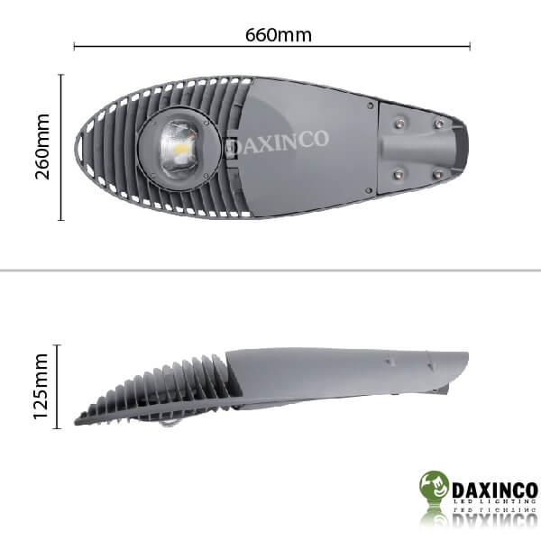 Kích thước đèn đường led 50W kiểu mặt trăng Daxinco Daxin50-10