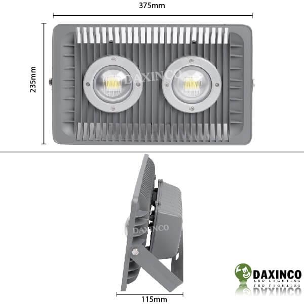 Kích thước đèn pha led 100W Daxinco kiểu xương cá Daxin100-4