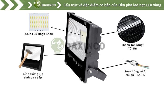 Đèn pha led 100W Daxinco hạt led vàng Daxin100-22