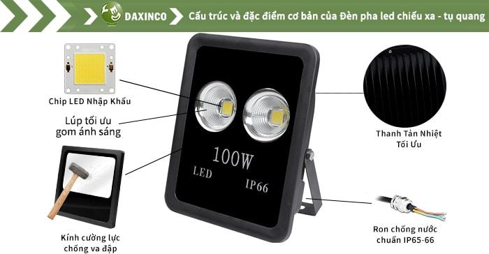 Đèn pha led 100w chiếu xa - tụ quang Daxinco