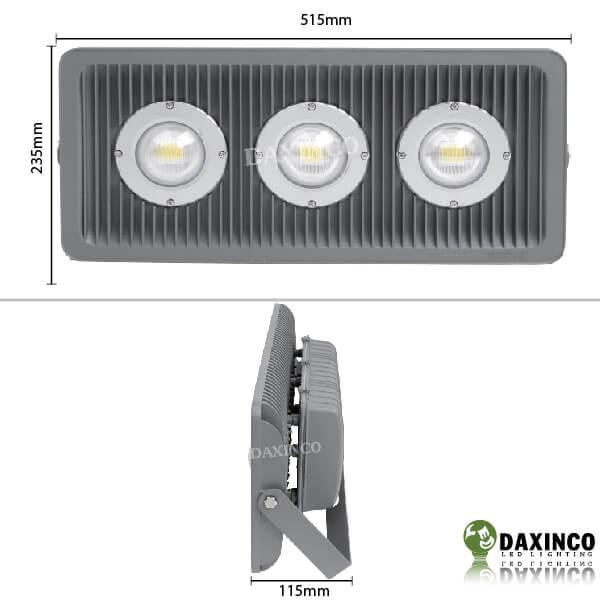 Kích thước đèn pha led 150W Daxinco kiểu xương cá Daxin150-4