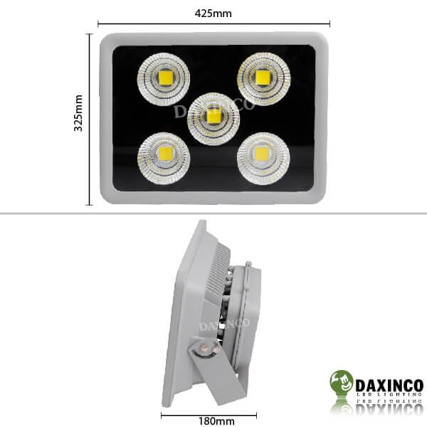 Kích thước đèn pha led 150W chiếu xa - tụ quang Daxinco
