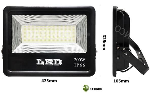 Kích thước đèn pha led 200W SMD Daxinco kiểu chiến sỹ