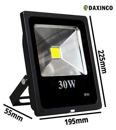 Kích thước đèn pha LED 30W 12-24vdc Daxinco