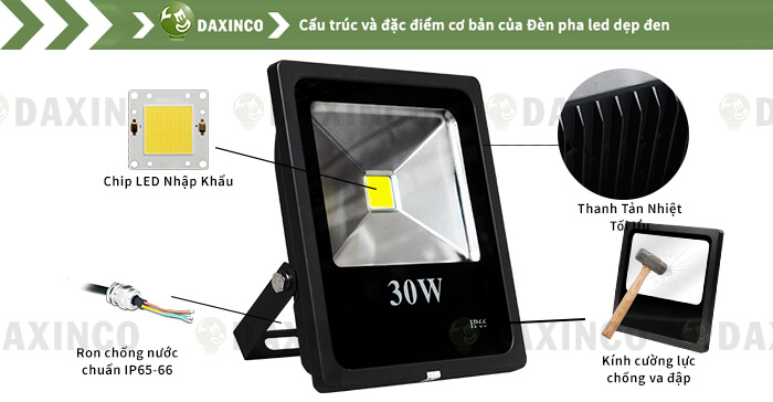 Đèn pha led 30W kiểu dẹp Daxinco