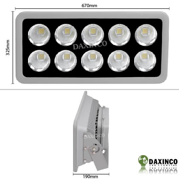 Kích thước đèn pha led 400W chiếu xa - tụ quang Daxinco
