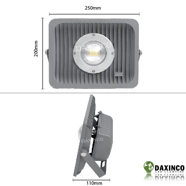 Kích thước đèn pha led 50W Daxinco kiểu xương cá Daxin50-4