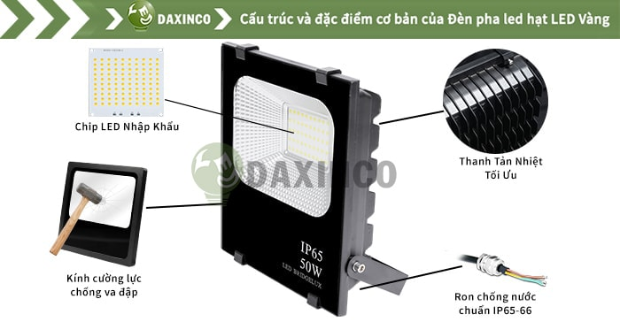 Đèn pha led 50W Daxinco hạt led vàng Daxin50-22