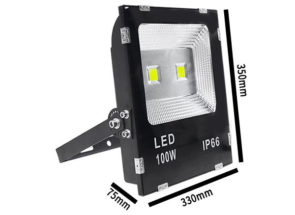 Kích thước đèn pha led 100W ắc quy