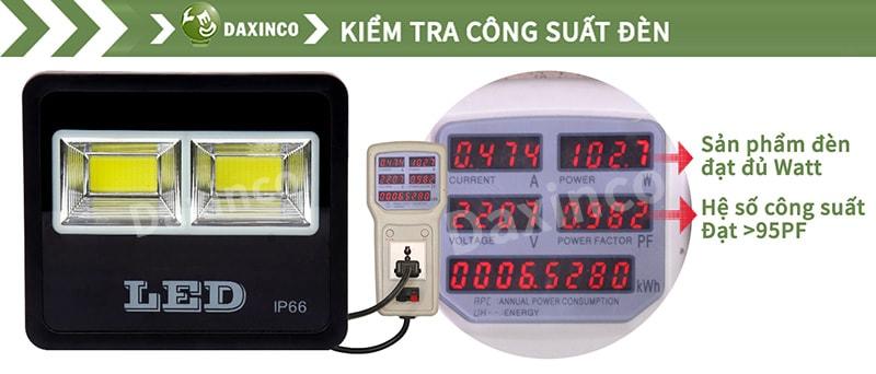 Kiểm tra công suất đèn pha led 100w COB chiến sỹ