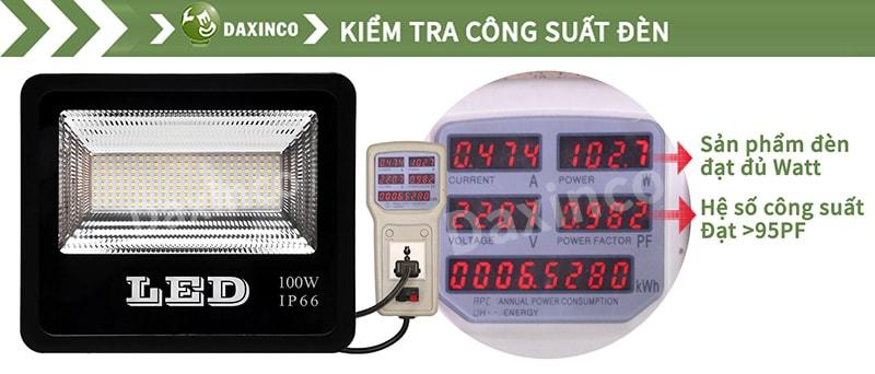 Kiểm tra công suất đèn pha led 100w SMD chiến sỹ