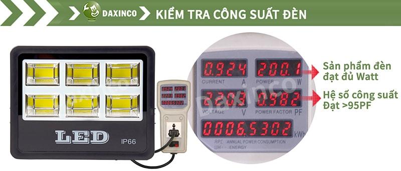 Kiểm tra công suất đèn pha led 200w COB chiến sỹ