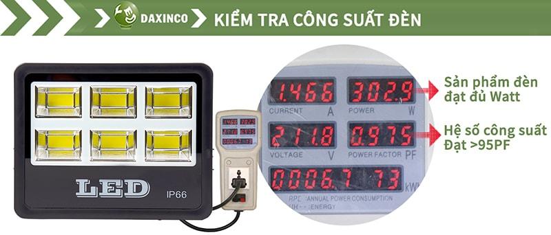 Kiểm tra công suất đèn pha led COB 300W Daxinco