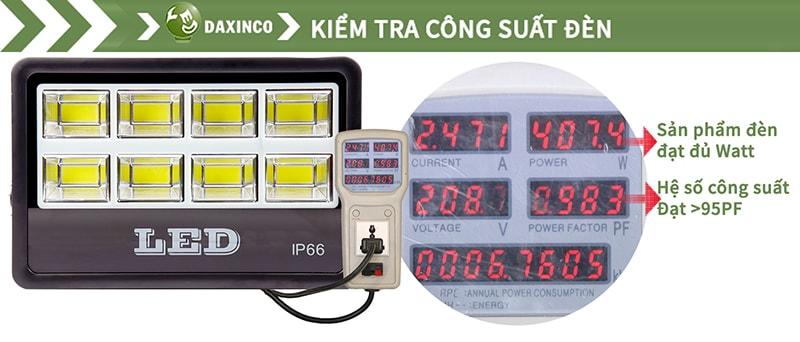 Kiểm tra công suất đèn pha led COB 400W Daxinco