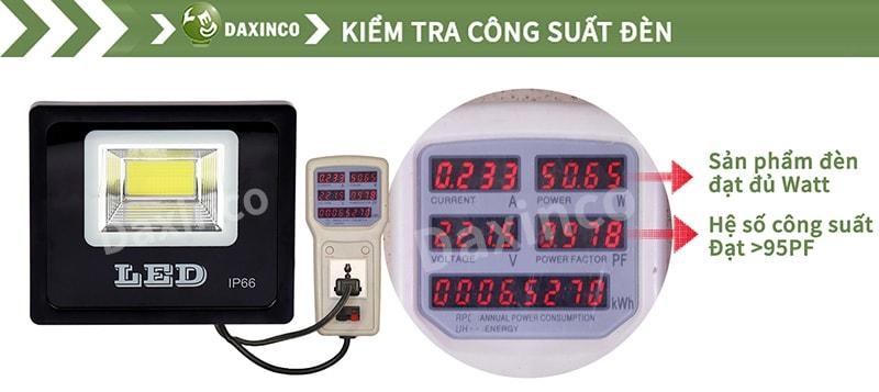 Kiểm tra công suất đèn pha led 50w COB chiến sỹ
