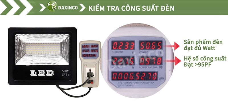 Kiểm tra công suất đèn pha led 50w SMD chiến sỹ