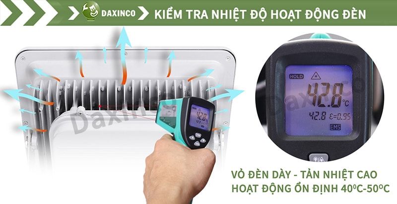 Kiểm tra nhiệt độ đèn pha led kiểu thông dụng Daxinco