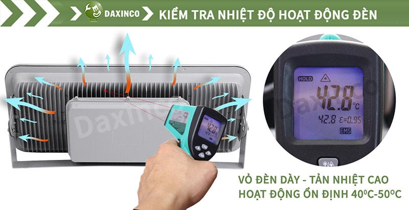 Kiểm tra nhiệt độ đèn pha led chiếu xa Daxinco