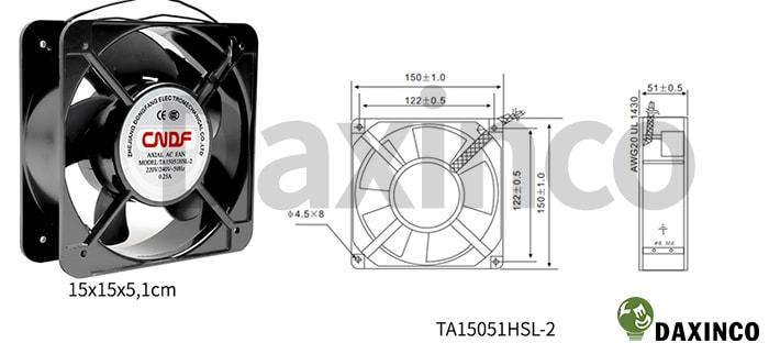 Thông số kỹ thuật quạt hút nhiệt 150x150 220v AC 0.25A