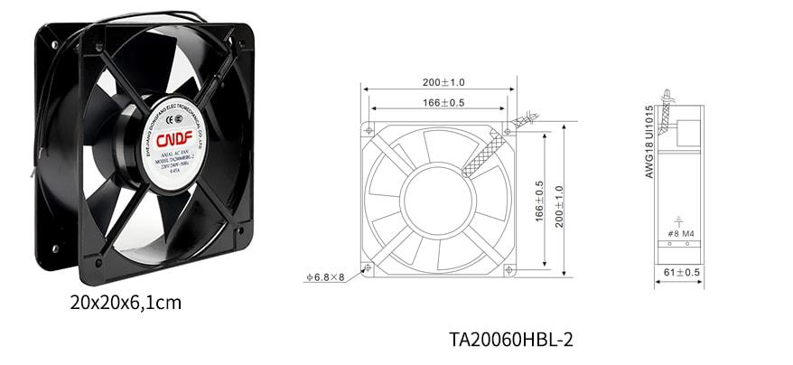 Thông số kỹ thuật quạt hút nhiệt 200x200 220v AC 0.45A